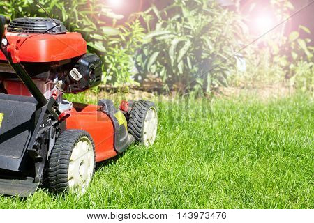 Lawn mower cutting the grass.