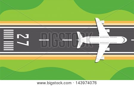 Vector illustration of an airplane on a runway