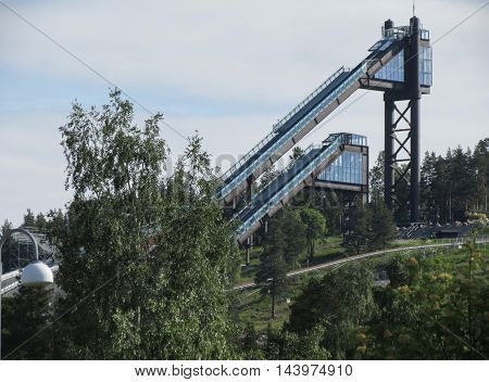 FALUN SWEDEN - CIRCA JUNE 2016: ski jumping ramps