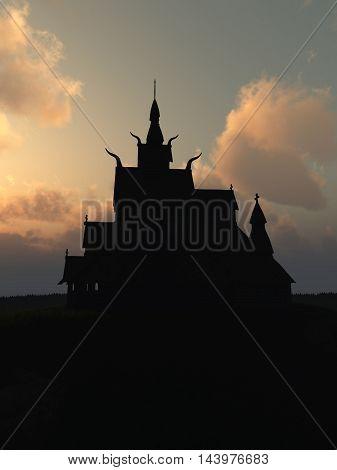 Fantasy illustration of a wooden Viking stave church outlined against a dark sunset, digital illustration (3d rendering)