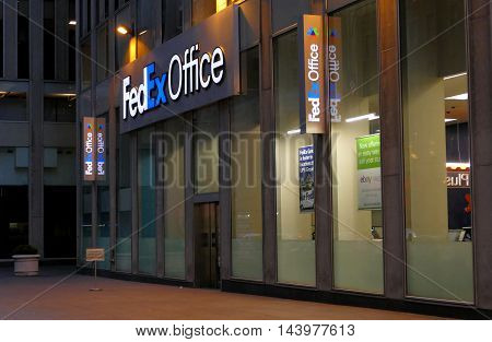 New York USA. 23rd August 2016. A FedEx Office store sign