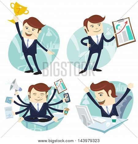 Vector Illustration Office man set: showing a graph, Happy worker at his desk, busy yoga white collar working hard by eight hands, winner with first place golden cup