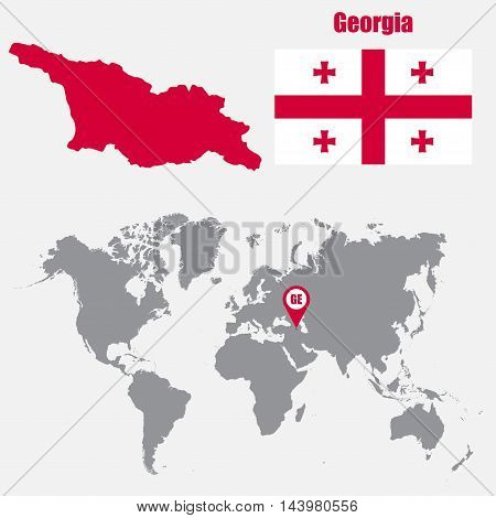 Vector y foto georgia map on world map flag map bigstock georgia map on a world map with flag and map pointer vector illustration gumiabroncs Image collections