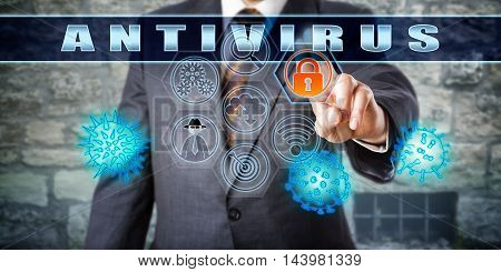 Corporate manager pushing ANTIVIRUS on an interactive touch screen monitor. Computer utility cyber security and information technology concept. Vector artwork combined with hand drawn illustration.