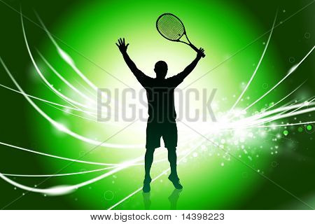 Tennis Player on Abstract Modern Light Background Original Illustration