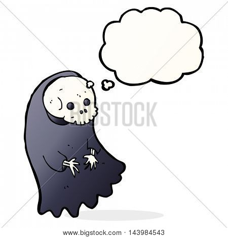 cartoon spooky ghoul with thought bubble