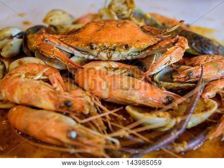 A seafood platter close up. Selective focus