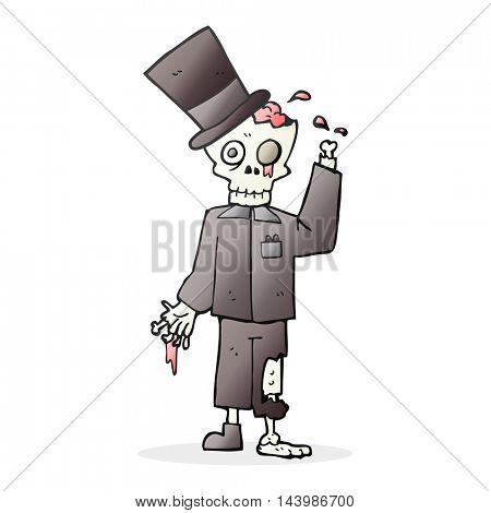 freehand drawn cartoon posh zombie