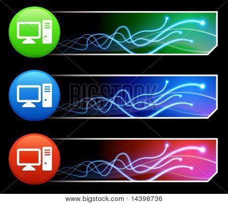 Computer Icon on Mutli Colored Button Set Original Illustration