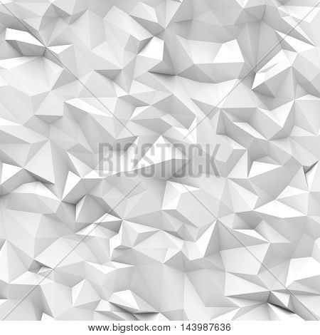 Abstract white crumpled polygon wall background. 3D rendering.