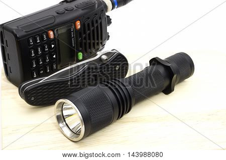 essential tool for sheriff police or security for work Flashlight knife transceiver