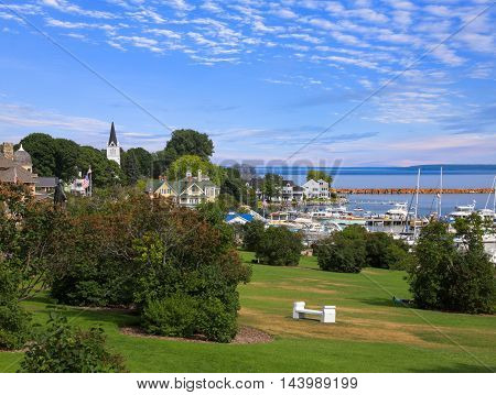 Mackinac City on Mackinac Island in the Straits of Mackinac Between Michigan's Upper And Lower Peninsulas on a beautiful Summer afternoon Michigan USA