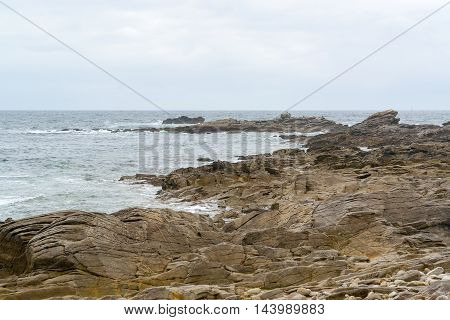 coastal scenery near a commune named Quiberon in the Morbihan department in Brittany France poster