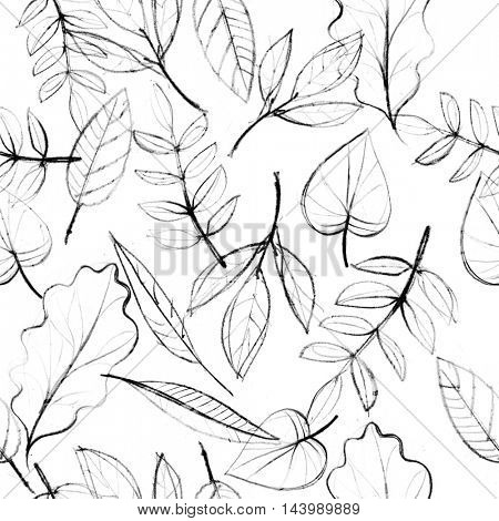 Autumn leaves sketch, seamless pattern