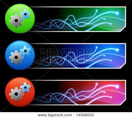 Gear Icon on Mutli Colored Button Set Original Illustration