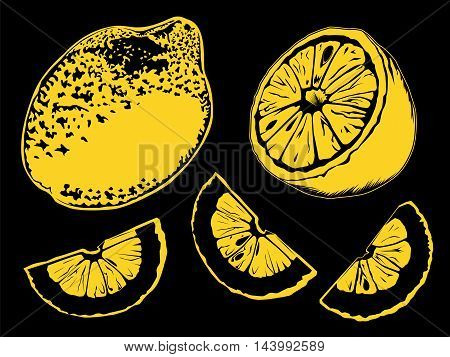 Lemon Set Colored Black