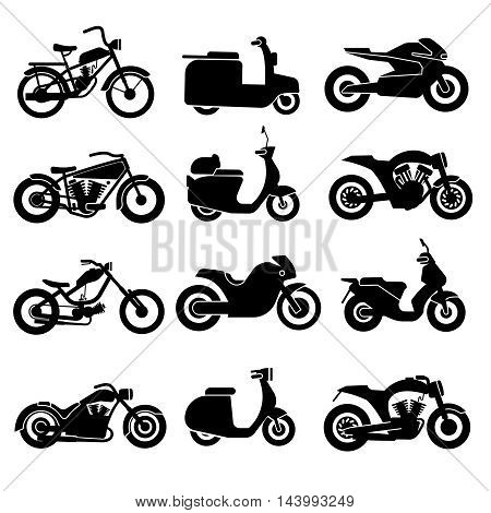 Motorcycle black vector icons set. Transport bikes transportation signs