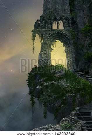 Fantasy gate ruin in a mountain and landscape with fog