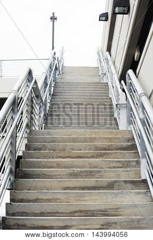 low angle view of stair case in the parking lot
