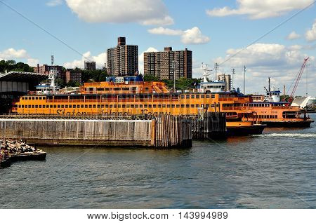 New York City - August 27 2015: Two Staten Island ferries docked at the St. George ferry terninal dock in Staten Island