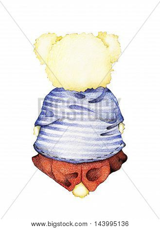 Hand Drawn Back View of Cute Teddy Bear in Striped Sailor Shirt with Red Pants and Knitted Hat Sitting Down on Floor and Looks into The Distance Isolated on White Background.