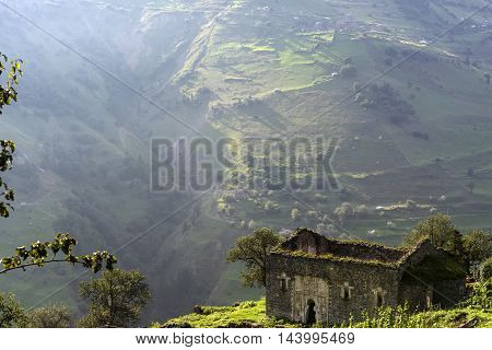 Santa Ruins are on the mountains with amazing green nature
