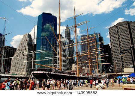 New York City - July 3 2007: 19th century Peking sailing ship at the South Street Seaport Museum in lower Manhattan
