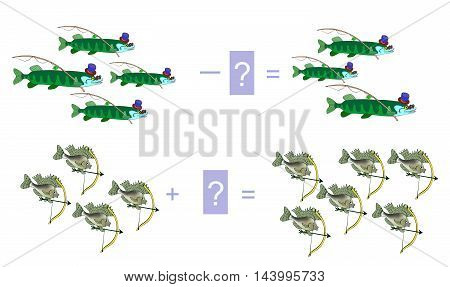 Cartoon illustration of mathematical addition and subtraction. Examples with fishes - pike and ruff. Educational game for children. Vector image.