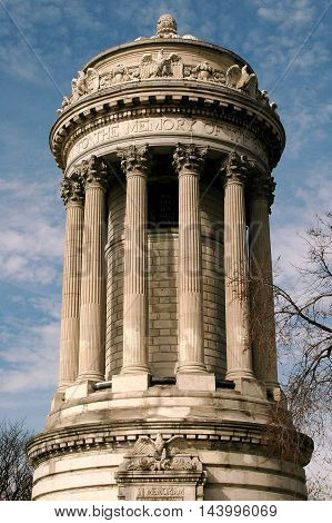 New York City - March 30 2005: Neo-classical Soldier's and Sailor's Monument in Riverside Park at West 88th Street