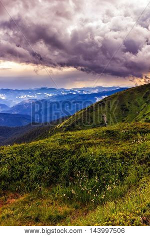 Picturesque and dramatic Carpathian mountains landscape sunset evening time Ukraine