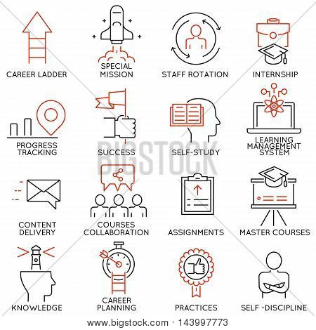 Vector set of 16 linear thin icons related to striving for success leadership development career progress corporate management professional consulting service and personal training. Mono line pictograms and infographics design elements - part 4