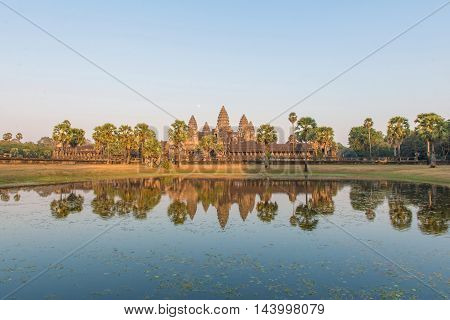 Angkor Wat Temple Seen Across The Lake In Siem Reap At Cambodia