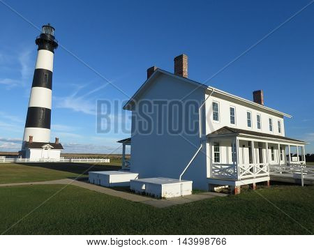 Bodie Lighthouse on a clear day on the Outer Banks