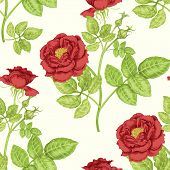Floral seamless pattern. Flowers roses peonies. Design paper wallpaper cards invitations packaging textiles interior decoration upholstery fabrics. Vector. Victorian. poster