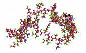 Molecular structure of peoptide insulin 3D rendering poster