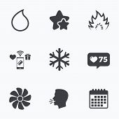 HVAC icons. Heating, ventilating and air conditioning symbols. Water supply. Climate control technology signs. Flat talking head, calendar icons. Stars, like counter icons. Vector poster