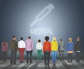 Cure Health Hospital Injection Medicine Concept poster