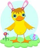 Here is a cute baby Duck with bunny ears and Easter egg. poster
