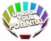 Unlock Your Potential Doors Future Skills Abilities 3d Illustration poster