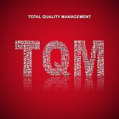 Total quality management typography background. Red background with main title TQM filled by other words related with total quality management method. Vector illustration poster