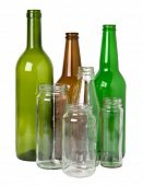 Glass bottles prepared for recycling poster