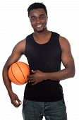 attractive young person with basketball ball a over white background poster