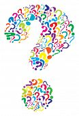 Editable vector question mark formed from many question marks poster