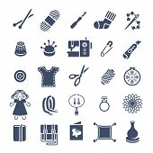 Vector flat icons of women handmade hobby activities. Tools for sewing, knitting, embroidery, beadwork. Homemade toys, clothes, jewelry, accessories. Instruments for handicraft and stuff made by hands poster