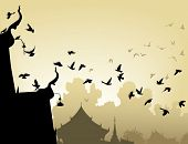 Vector illustration of pigeons flying to a Buddhist temple roof poster