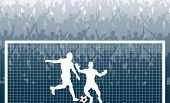 Illustration of a cheering crowd watching a penalty kick in a soccer match poster