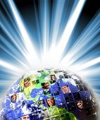 Illustrated montage of the earth with a global network of people from all walks of life on different continents. poster