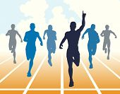 Editable vector illustration of men finishing a sprint race poster