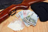 Things bandit criminal drug dealer gun balaclava gloves euro money on the table poster