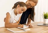 Mother and daugther at home doing homework together poster